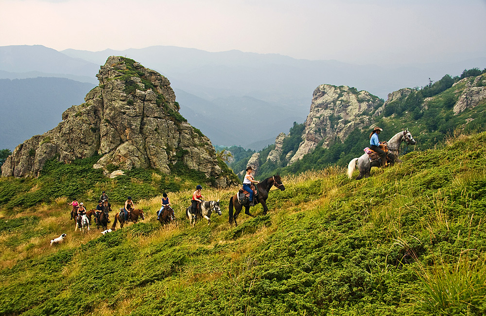 mountain trails on a horseback in bulgaria